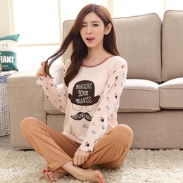 Wholesale Cute Sexy Pajamas For Women - New Cute Cartoon Pajama Sets For Women Long Sleeve Pijama Pajamas Pyjama femme Sleepwear Girls Nightwear Womens Clothing PJ1