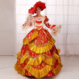 Wholesale Medieval Wine - Hot Sale 2016 Wine Long Sleeves Printed Medieval Renaissance Dress Costumes 18th Century Marie Antoinette Ball Gowns For Ladies
