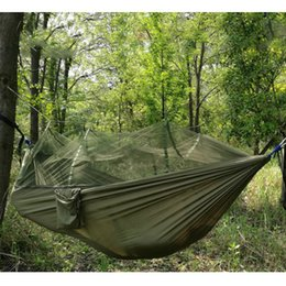 Wholesale Red Mosquitoes - Portable High Strength Parachute Fabric Camping Hammock Hanging Bed With Mosquito Net Sleeping Hammock outdoor hammock