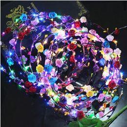 Wholesale Glow Toys Flower - Flashing LED Glow Flower Crown Headbands Light Party Rave Floral Hair Garland Wreath Wedding Flower Girl Headpiece Decor CCA7454 100pcs