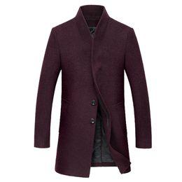 Wholesale Korean Men Long Coat Winter - Wholesale- Free shipping Autumn and winter new men's wool coat Long Korean style Slim woolen coat male Wool thick Windbreaker 140yw