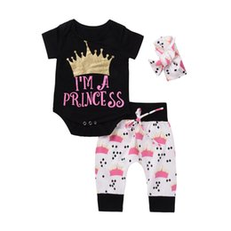 Wholesale Summer Suit Big Girl - NEW Princess Baby Girls Romper Sets Gold Glitter Crown Rompers + Crowns Printed Bow Pants + Big Bowknot Headband 3pcs Set Outfit Suits A6579