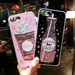 Wholesale Case Iphone Drink - LANCASE For iPhone 6S Case Drink bottle Ice Cream Quicksand Case For iPhone 6 6S Plus Dynamic Liquid Glitter PC Back Cover 6 6S