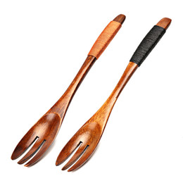 Wholesale Tooth Fruit Fork - Japanese Style 3 Teeth Wood Forks for Fruit Desserts Cake Chips Snacks Salad Wooden Forks Wood Utensil Flatware Kitchen Accessories