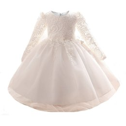 Wholesale Long Sleeve Toddler Party Dresses - Girls' Embroidered Lace Princess Wedding Baptism Dress Long Sleeve Christening Gowns Clothing Brand Ceremonies Party Dress for Toddler Baby