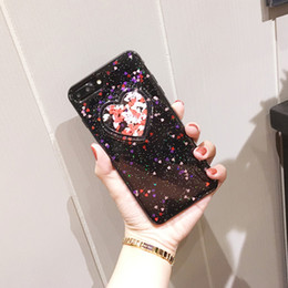 Wholesale Glitter Bling Hard Case Sparkle - For iPhone 8 7 6s Hard Case Liquid Floating Heart-shaped Luxury Bling Glitter Sparkle Case Cover for Girls Children For iphone8 7 plus