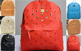 Wholesale Skulls Flowers Diamonds - Hot Selling Punk Rivet Backpacks Men Schoolbag Handbags Women Leather Shoulders Bag Men Bag Free Shipping Designer Handbag