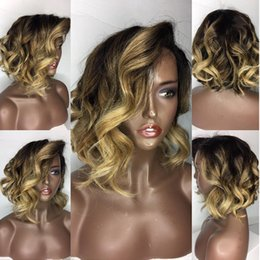 Wholesale African American Short Hair Wigs - 10A Full Lace Human Hair Wigs Ombre Loose Wave Peruvian Virgin Lace Frontal Wig With Baby Hair African American Wigs For Black Women