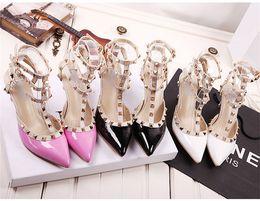 Wholesale Womens Elegant Heels - Elegant Sandals Wedding Prom Party Womens Shoes Pointed Toe High Heels Ladies Dance Dress Shoe Heel 7.5 cm Buckle Strap Rivets