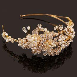 Wholesale Handmade Gold Hair Accessories - Western Wedding Hair Accessories Jewelry Handmade Gold Crystal Pearl Vine Flower Crown And Tiara Baroque Bride Bridal Headband