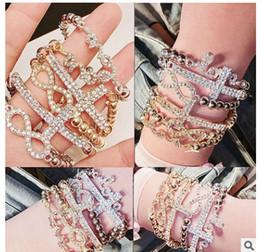 Wholesale Gold Faith Bracelet - 20PCS Gold Silver Horizontal Sideways Cross Bracelet Simple letter 8 Cross Bracelet Cool Faith Christian Cross Bracelets