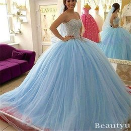 Wholesale Long Puffy Corset Dresses - Elegant Sky Blue Puffy Sweet 16 Quinceanera Dresses Major Beading Bodice Sweetheart Corset Back Long 2017 Prom Masquerade Gowns Custom Made