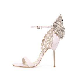 Wholesale rubber angels - Sophia Webster Butterfly Sandals Fashion Sophia Webster Evangeline Angel-wing Sandals High Heeled Stiletto Ankle Strap Lady Sandals Shoes