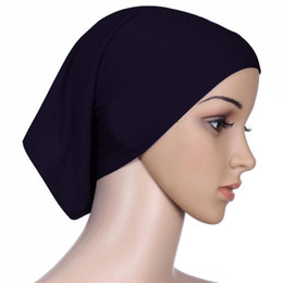 Wholesale Women S Head Scarves - Wholesale-Islamic Women\'s Head Cover Under Scarf Hijab Tube Bonnet Cap Bone Various Colour
