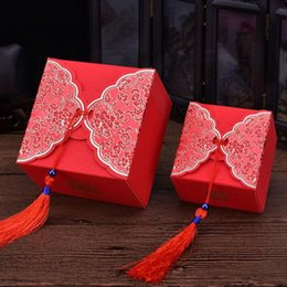 Wholesale Wedding Cake Boxes Red - Creative Traditional Chinese Red Wedding Cake Favor Gift Box Candy Sweet Boxes With Tassels Free Shipping ZA4004