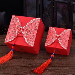 Scatola di dolci di cerimonia nuziale cinese online-Creativo cinese tradizionale rosso Wedding Cake favore confezione regalo Candy dolce scatole con nappe Spedizione gratuita ZA4004