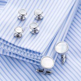Wholesale Cuff Links Studs - VAGULA Sea Shell Cufflinks Collar Studs Set 6pcs set AAA Quality Cuff Links Cufflings 266