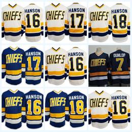 Wholesale Dunlop Green - 2017 Brothers Charlestown Slap Shot Movie CCM Hockey Jerseys Cheap 16 Jack Hanson 17 Steve Hanson 18 Jeff Hanson 7 Reggie DUNLOP Blue