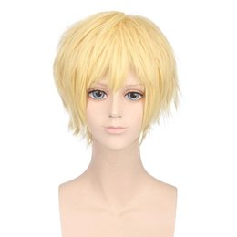Wholesale Yellow Cosplay Wig Short - Wigs 5colors Yellow Black Short Straight Man Synthetic Hair Cosplay Wigs High Temperature Fiber