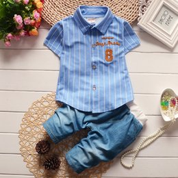 Wholesale England Clothing Styles - New arrival summer England style children clothes boys suits short sleeve shirt leisure suits childrens clothing 1T-3T 4pcs a lot