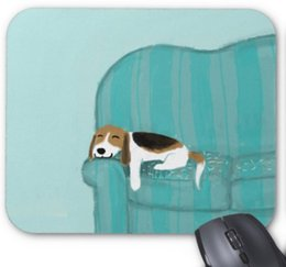Wholesale Office Couches - Rectangular non-slip natural rubber mouse mat happy lying on the couch dog computer accessories office supplies