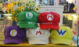 Wholesale Wholesale Red Mario Hats - Super Mario Bros Anime Cosplay Red Cap Tag Super cotton hat Super mario hats Luigi hat 5 colors Free shipping E880