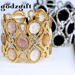Wholesale Vintage Lucite Bangle Bracelet - Godzgift Floral Stretch Bracelet Vintage Style Black Flower Crystal Rhinestone Women Fashion Jewelry Gifts Wholesale JB0005