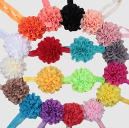 Wholesale Eyelet Laced Chiffon - Baby girl headband Eyelet hole Mesh Fabric Wave point Chiffon flowers soft Elastic Hair Band Toddle Hair accessories 20 colors