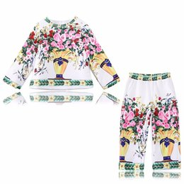 Wholesale Baby Flower Outfit - Tollder Girls Clothing Sets Children Clothes 2017 Brand Autumn Sets Flower Coats+Pants Baby Girls Outfit Kids Tracksuit