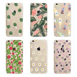 Wholesale Iphone 5c Cartoon - Cartoon Exquisite Cactus Green Leaves Clear Hard Plastic PC Cell Phone Case for iphone 8 7 6S Plus 5S 5C 4S Back Cover