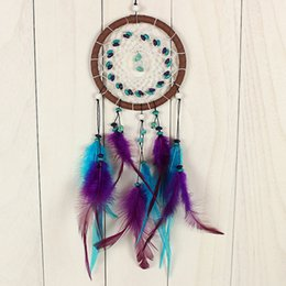 Wholesale Turquoise Purple Decorations - Handmade Dream Catcher Blue Purple Feather Dream Catchers For Wall Car Hanging Decoration Turquoise Bead Ornament Crafts