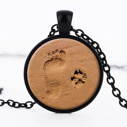 Wholesale Wholesale Beach Necklaces - Free shipping Beach little pendants pendants retro dog footprints gemstone necklaces WFN329 (with chain) mix order 20 pieces a lot