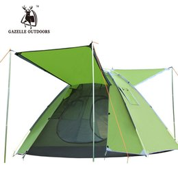 Wholesale Pop People - Wholesale- Outdoor Camping Tent Pop up Quick Automatic Opening Tent Green 3-4 People Double Layer Rainproof With Window Leisure Tent 3.5KG