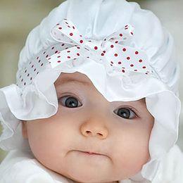 Wholesale Girls Dot Butterfly Knot - 2017 new Newborn Baby Girl Boy Summer Sun Dots cute lace butterfly knot hat free Shipping