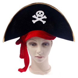 Wholesale Pirate Bands - 2017 new Halloween Props Jack Pirate Captain Hat Red Band Skeleton Pattern Pirate Hat free shipping