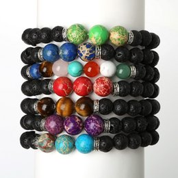 Wholesale Yoga Bar - Wholesale- New Products Wholesale Lava Stone Bead Natural Stone Bracelet Men Jewelry Stretch Yoga Bracelet Hematite bangle for fashion gift