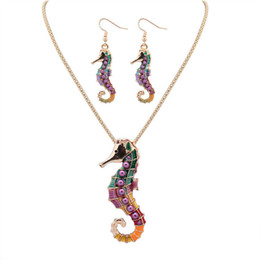 Wholesale Tibet Horse - Fashion 2017 Women Jewelry Sets Earring Necklace Colorful Sea Horse Pattern High Quantity Gold Silver 2 Colors chain Free Shipping