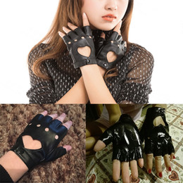 Wholesale Wholesale Leather Gloves Ladies - Wholesale- Fashion Sexy Women Punk Leather Gloves Driving Bicycle Half Finger Mittens Dancing Ball Party Motorcycle Lady Gloves