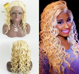 Wholesale Blonde Remy Wig - 613 Blonde Full Lace Wig with Baby Hair curly 100% Glueless Remy Human Hair Wigs for Black Women Free Shipping