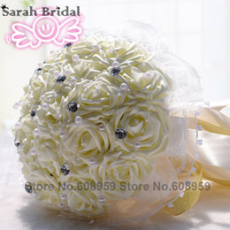 Wholesale Cheap Artificial Pink Bridesmaids Bouquets - 2017 Cheap Cream White Pink Rose Wedding Bouquet Bridesmaid Artificial Flower Rose Bouquet Crystal Bridal Bride Mariage WF012