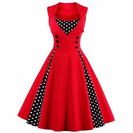 vestidos de dama de honor de boda blanco negro rojo Rebajas Moda Mujer Robe Pin Up Dress Retro Vintage 50s 60s Rockabilly Dot Swing Summer Mujer Vestidos Elegante Túnica