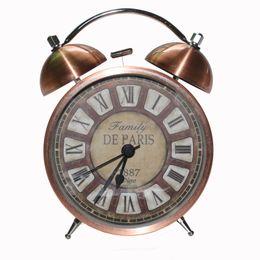 Wholesale Twin Bell Alarm Clocks - 2016 New Twin Bell Alarm Clock Metal Finish Desktop for Bedroom Kids Bedside Watch with Night Light Function Roman Numbers