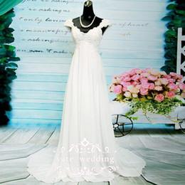 Wholesale Short Corset Chiffon Dress - 2018 Newest Chiffon Empire Wedding Dresses V Neck Cap Sleeves Appliques Lace Corset Maternity Wedding Dresses Beach Boho Bridal Dresses