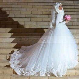 Wholesale Islamic Long Sleeve Dresses - Arabic Turkish Islamic Muslim Wedding Dresses with Hijab Gelinlik 2017 Long Sleeve Lace Ball Gown Princess Wedding Dress Vestidos de novia