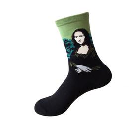 Wholesale Green Acrylic Paint - Wholesale- NEW Fashion 3D Retro Painting Art Socks Unisex Women Men Funny Novelty Starry Night Vintage Socks