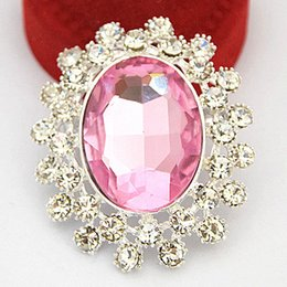 Wholesale Engagement Cakes - Silver plated alloy big pink glass crystals exquisite brooch bridal bouquet brooch pin for wedding wholesale cake decoration pins