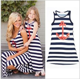 Wholesale children s summer dresses - 2017 Summer Parent-child Family Dress Blue and white stripes boat anchor sequins dress Mother and daughter outfit vest dress