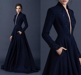 Wholesale Navy Satin Ball Gown - Navy Blue Satin Evening Dresses Embroidery Paolo Sebastian Dresses Custom Made Beaded Formal Party Wear Ball Gown Plunging V Neck Ball Gowns