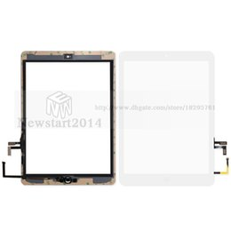 Wholesale Glue Buttons - huasha For iPad 5 Touch Screen Glass Digitizer Assembly with Home Button& Adhesive Glue Sticker Replacement A1474 A1475 tested well