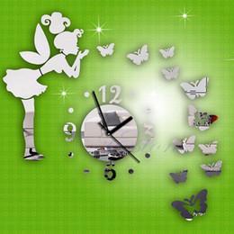 Wholesale 3d Mirror Butterflies - Modern Butterfly Fairy Clock DIY 3D Art Mirror Wall Sticker Kids Room Home Decor